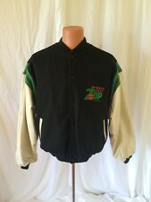 Vintage 7 UP Shoot Out Identity Inc Leather Wool Basketball Jacket Coat Made USA