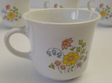 Vintage Corelle by Corning SPRING MEADOW Coffee, Tea Cups Mugs. Set of 4