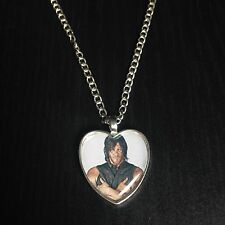 Silver Plated Heart Pendant Necklace The Walking Dead Daryl Dixon Norman Reedus