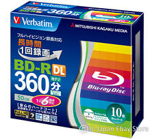 10 Verbatim Bluray Disc Dual Layer BD-R DL 50GB 6x Speed Inkjet Printable Bluray
