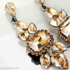 Hot New Design Lady Brown Crystal Bling Rainbow Drop/Dangle Earring 6.5cm E639