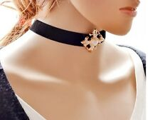 Gothic Velvet Leather Cross Women Choker Neck Black Necklace Pendant Gift AL