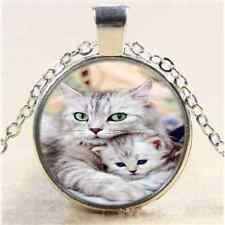 Mother Cat And Baby Cabochon Glass Tibet Silver Chain Pendant  Necklace