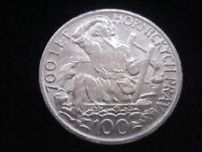 """MDS TSCHECHOSLOWAKEI / CSSR 100 KRONEN KORUN 1949 """"700 J. BERGRECHT"""",SILBER #30"""