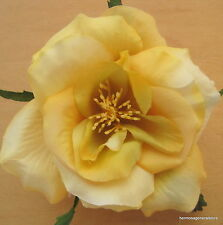 "3"" Variegated Yellow Rose Silk Flower Hair Comb, Wedding.Prom,Dance,Party,Bridal"