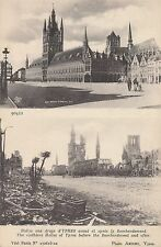 POSTCARD  MILITARY WWI   YPRES  Before and After  Bombardement