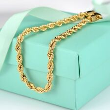 "Fashion 18K Yellow Gold Filled Womens/Mens Bracelet Charms Rope Chain 8.5"" Link"