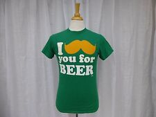 """St. Patrick's Day I """"Mustache"""" you for a beer Cotton T-Shirt Size S Green Pub"""