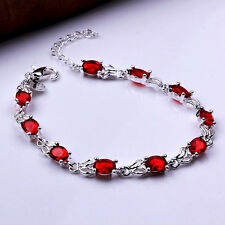 925 Silver Ruby Coloured Crystal Bracelet Bangle = UK SELLER =