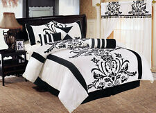 7pc Faux Silk White Black Flocked Floral Duvet Cover Set Queen Size