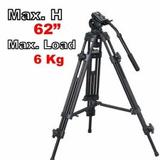 "62"" Pro Heavy Duty Camcorder Fluid Pan Head Video DV Camera Tripod Support Kit"