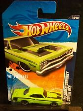 HOT WHEELS 2011 #110 -3 69 DODGE CORONET SUPER BEE PEA GRN TAMPO TRUNK 11 AM CA