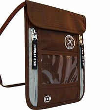 Landing Gear Passport Holder Neck Pouch With RFID #1 Travel Wallet (Brown)