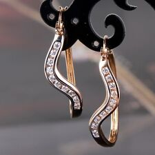 White sapphire 18k Gold Platinum filled special CHARMING Hoop earring