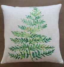 Watercolour Painting Large Green Fern Leaf Linen Look Cushion Cover 45cm