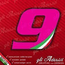 Adesivo Stickers NUMERO 9 moto auto cross gara Pink & Tricolore