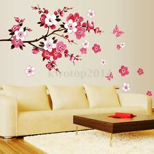 Pink Sakura Cherry Blossom Flowers Butterfly Wall Stickers Decor Mural Art Decal