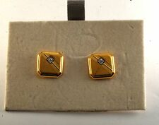 GOLD PLATED BRASS DESIGNER MEN'S DIAMOND CHIP CUFF LINKS NWD ON CARD USA $55