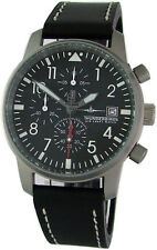 Thunderbirds chronograph Laco acero inoxidable cuero air mens piloto watch Ø 40mm