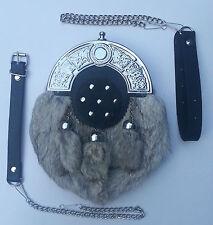 3 Tassels Grey Rabbit Fur Scottish Kilt Sporran, Free Leather & Metal Belt