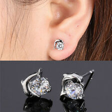 Plated silver Zircon Crystal Dolphin Ear Stud Earrings GF Birthday Gifts elegant