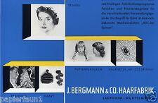 Fábrica de pelo Bergmann Laupheim XL publicitarias 1956 pelo peluca cabello humano hair Wig ad