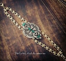 Vintage Art Deco Gatsby style green & white crystal multi row gold link bracelet