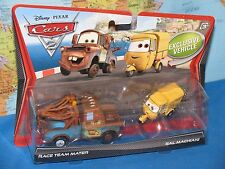 DISNEY PIXAR CARS 2 RACE TEAM MATER & SAL MACHIANI 2 PACK ***BRAND NEW & RARE***