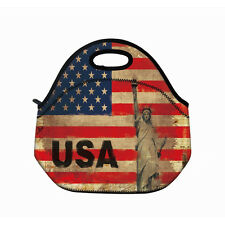 US Flag Pattern Portable Insulated Thermal Lunch Bag Storage Pouch Picnic