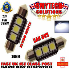 x2 39mm Canbus No Error 3 LED Number Plate/Interior Bulbs Xenon White