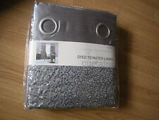 NEXT PEWTER GREY SEQUIN EYELET DYED TO MATCH LINED CURTAINS 53 X 90""