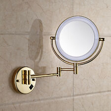 LED Light Foldig Bathroom Make up Mirror Wall Mounted Gold Polished