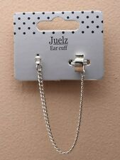 1x SINGLE DIAMANTE CRYSTAL STUD EARRING CUFF CLIP CHAIN LINK SILVER TONE GOTH