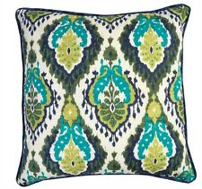 Split P Majolica Print Ikat Pillow Cover 20 x 20 Two Sided Blue White