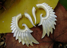 Winged Fake Gauge Earrings ,Tribal Style, Mother of pearl Shell , Angel Feather