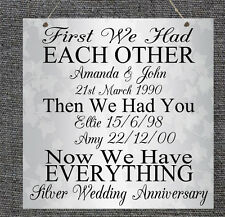 Personalised Family Silver Wedding Anniversary Plaque Shabby Present Chic Gift