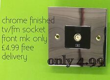 Chrome Tv/fm Socket Front Mk Single Isolated With Black Insert Only £4.99