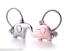 New 2 Elephants Key Chain His & Hers Stainless Steel Key Ring Women & Men's