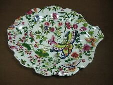 """Thousand Butterflies"" by Eda Mann White Ceramic Leaf-shaped Serving Dish"