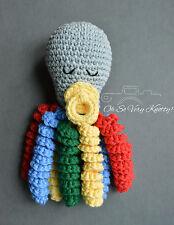 Handmade Amigurumi Preemie-Buddy, Baby Toy Octopus Crochet Stuffed Rattle 7""