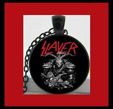 NEW - SLAYER METAL MUSIC GLASS OPTIC PENDANT BLACK CHAIN PENDANT NECKLACE