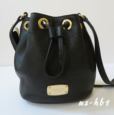 NWT MICHAEL KORS Small Leather Jules Drawstring Crossbody Bag in Black