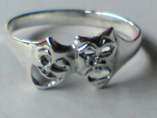SOLID STERLING SILVER THEATRE MASK DESIGN BAND RING UK.sizes P,Q,& R  £14.95 NWT