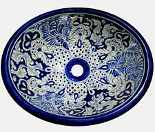 #083 SMALL BATHROOM SINK 16x11.5 MEXICAN CERAMIC HAND PAINT DROP IN UNDERMOUNT