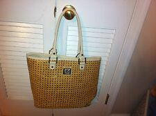 AK Anne Klein wicker-look straw/raffia tote bag-style handbag White Lion Purse