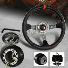 For 1992-1995 Honda Civic 320MM Deep Dish 6 Hole Carbon Steering Wheel + Adapter