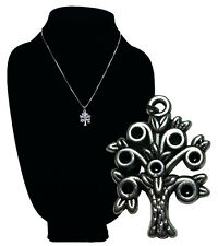 Judaica Tree of Life Pendent Jewish Jewelry w 18 in Chain Silver Antique NEW