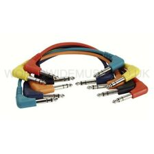 6 Stereo Patch Leads / Cables 30cm long - Right Angle Jack Plugs FL4230