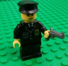 *NEW* Lego Police Man Cop Mini Figure Fig Black Cap Gun Pistol Modular City x 1
