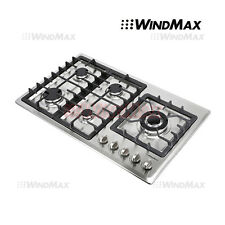 """34"""" Built-In 5 Burner Cooktop Gas Hob Stainless Steel Gas Stove Kitchen Cooker"""